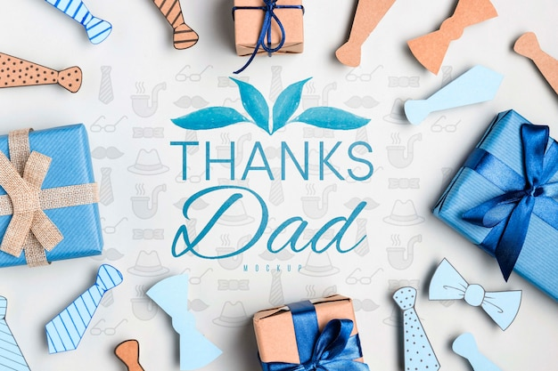 Top view father's day greeting with mock-up
