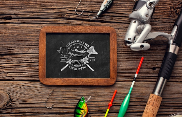 Top view fishing accessories chalkboard