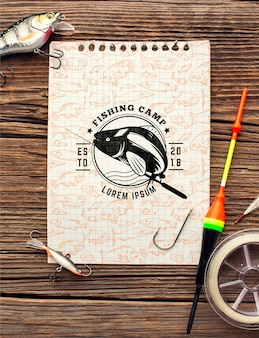 Top view fishing accessories mock-up notepad