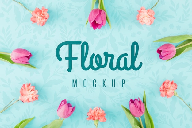 Top view floral mock-up with tulips