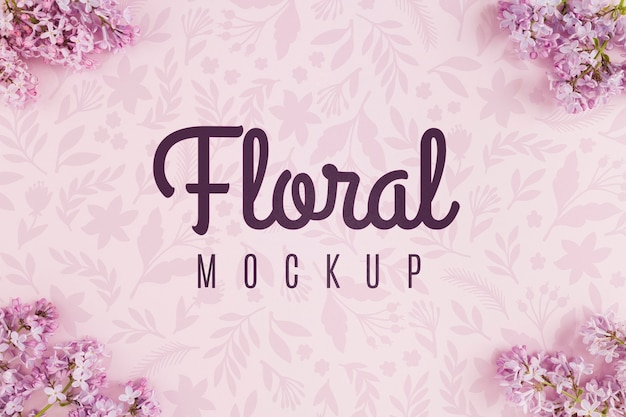 Top view floral mock-up with violet flowers