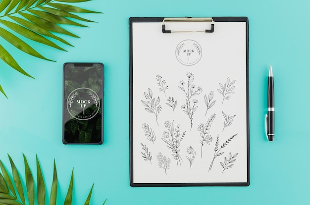 Top view floral sketch with mock-up