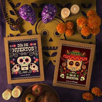 Вид сверху цветочный череп в макете с праздничными украшениями