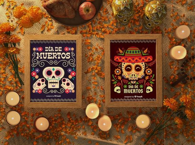 Вид сверху цветочный череп в макетах с праздничным декором
