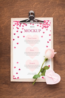 Top view flower and gift mock-up