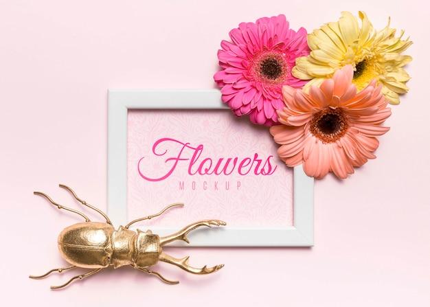 Вид сверху цветы и макет жука