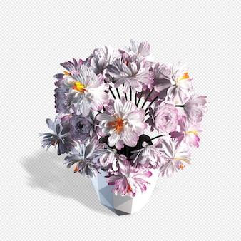 Вид сверху цветы в вазе 3d-рендеринга изолированные