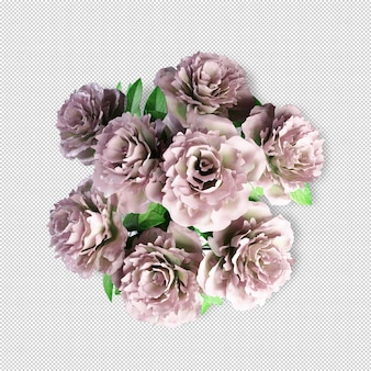 Top view flowers in vase 3d rendering isolated