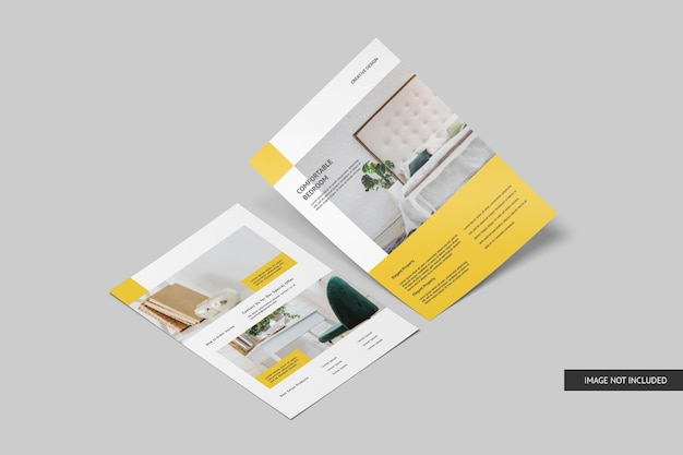 Top view flyer mockup design isolated