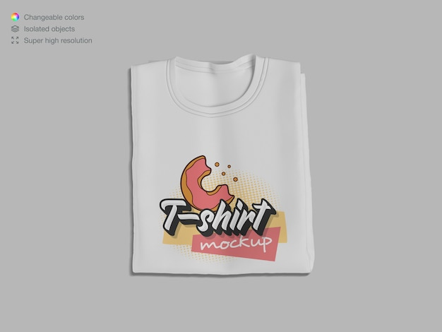 Top view folded t-shirt mockup
