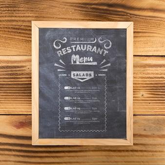 Top view of food menu concept mock-up