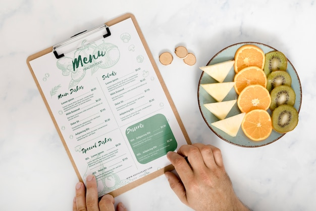Top view of food menu concept mock-up
