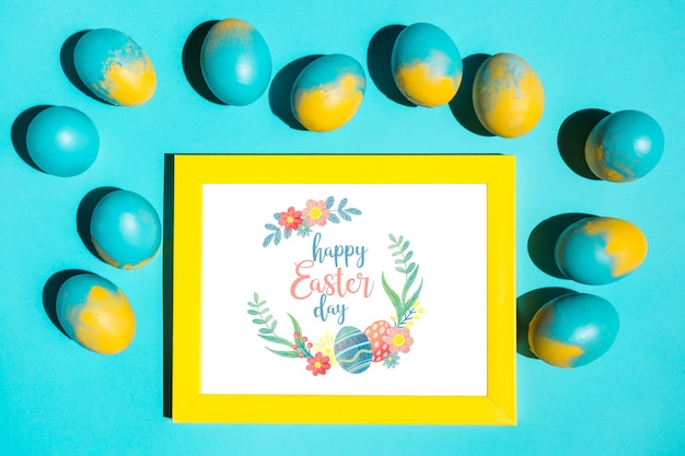 Top view frame mockup with easter concept