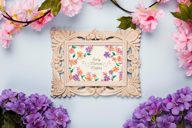 Top view of frame with spring flowers