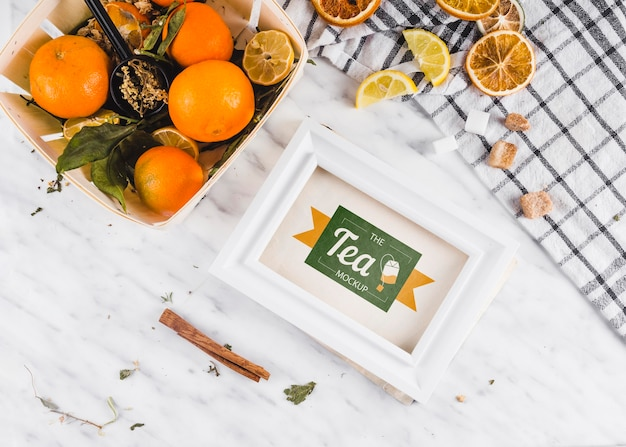 Top view fruit citrus tea mock-up