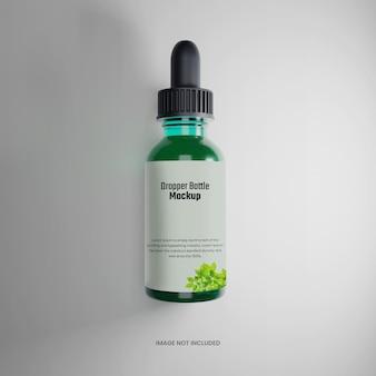 Вид сверху зеленая бутылка капельница мокап 3d визуализации