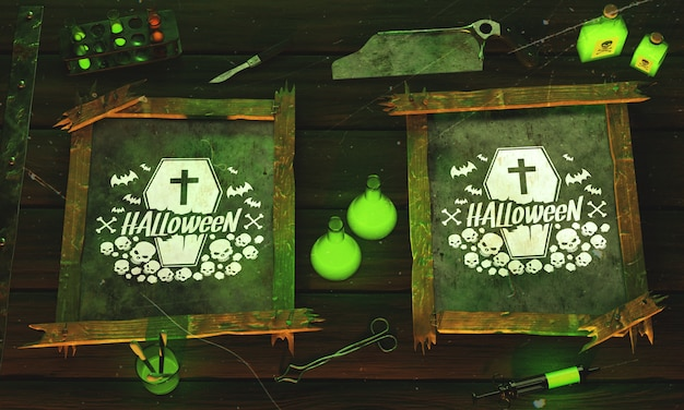 Top view halloween concept on wooden background