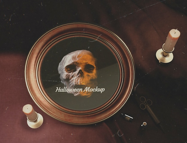 Top view halloween round frame with skull