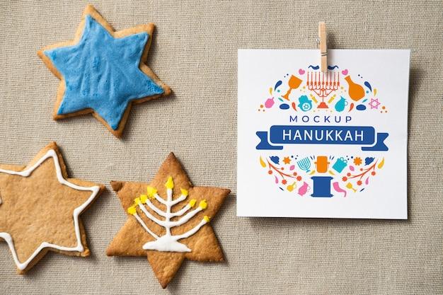 Vista dall'alto del modello di concetto di hanukkah