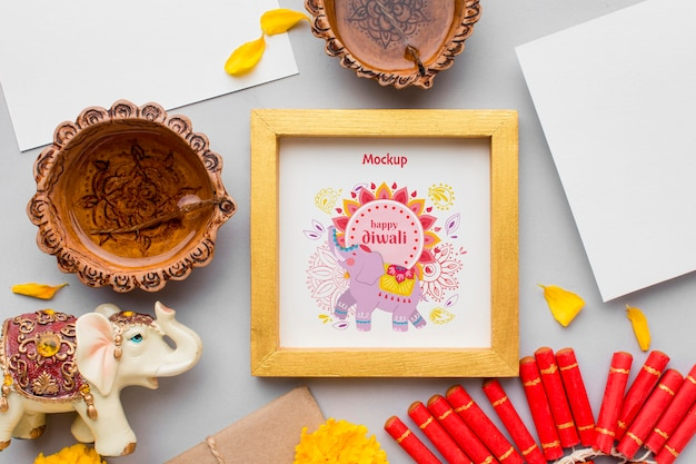 Top view happy diwali festival framed mock-up