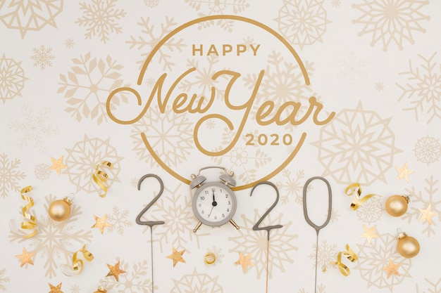 Top view happy new year 2020 mock-up with midnight clock