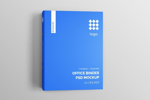 Top view hardcover corporate office file binder editable realistic mockup