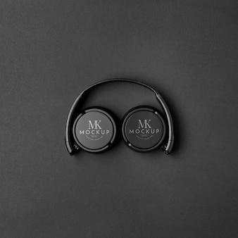 Top view headphones on dark background