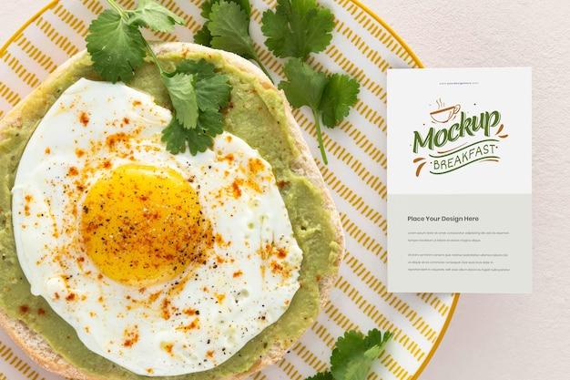 Top view on healthy breakfast mockup design