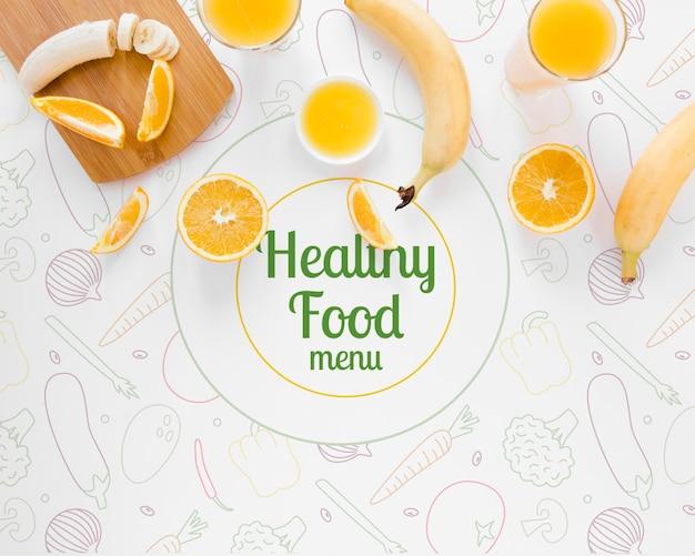 Концепция здорового питания вид сверху с бананами
