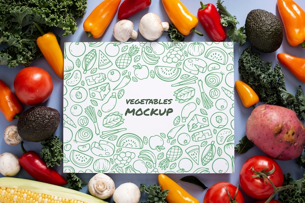 Top view of healthy vegetables concept mock-up