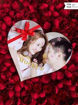 Top view heartshaped gift box mockup