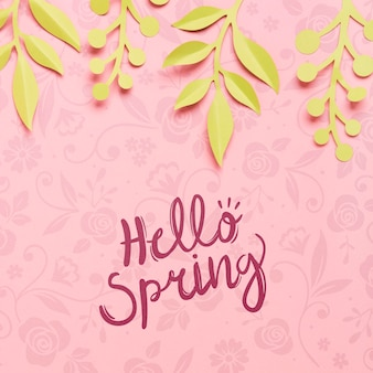 Top view hello spring concept background