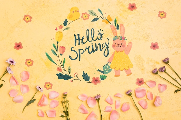 Top view hello spring floral frame background