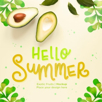 Top view hello summer concept with avocado