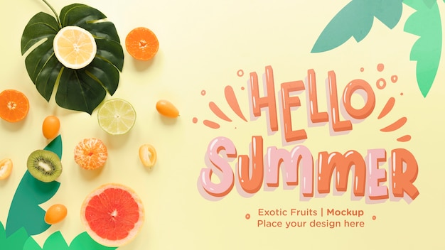 Top view hello summer with exotic fruits