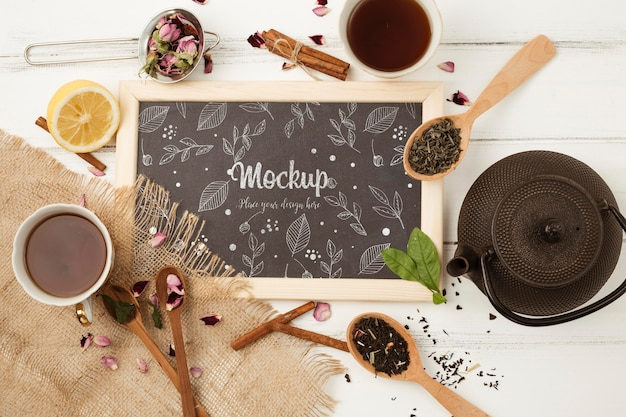 Top view of herbal tea concept mock-up