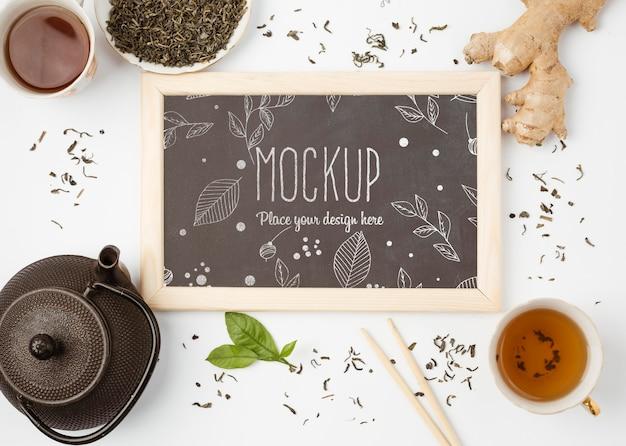 Top view of herbal tea concept mock-up
