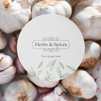 Top view herbs and spices with mock-up