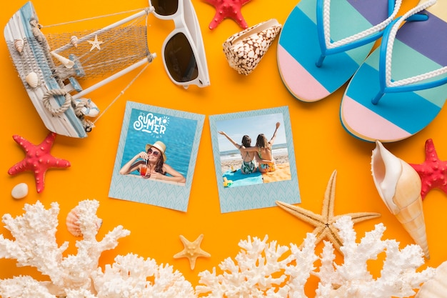 Top view holiday instant photos with flip flops
