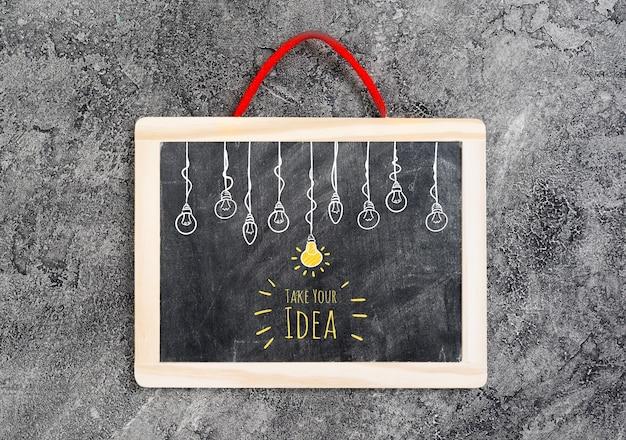 Top view of idea chalkboard