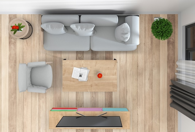 Top view of interior living room with smart tv