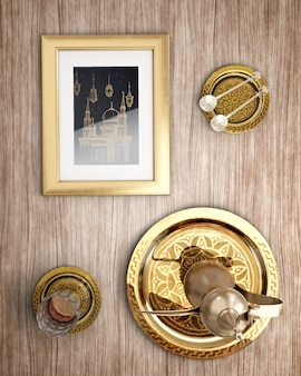 Вид сверху исламское новогоднее украшение на деревянном фоне