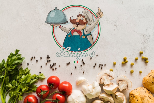 Top view italian food ingredients with logo