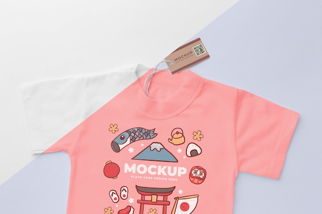 상위 뷰 일본 티셔츠 모형 무료 PSD 파일