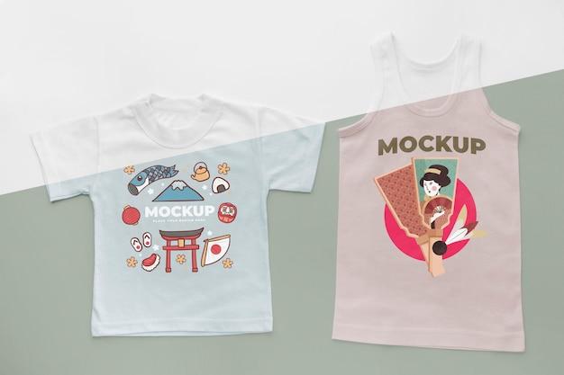 상위 뷰 일본 티셔츠 모형