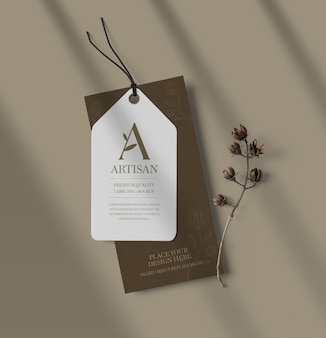 Top view of label tag mockup with branch