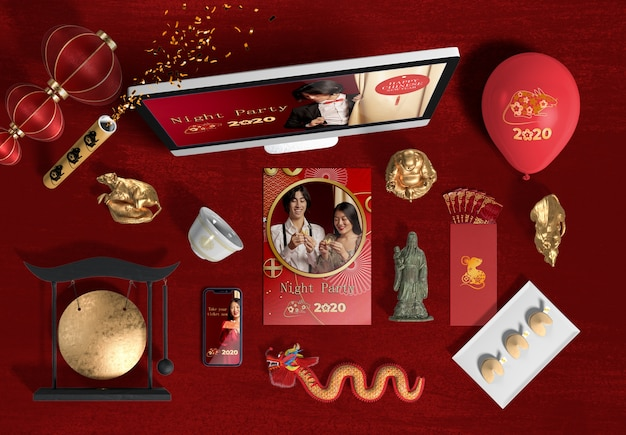 Top view laptop and accessories for new year chinese