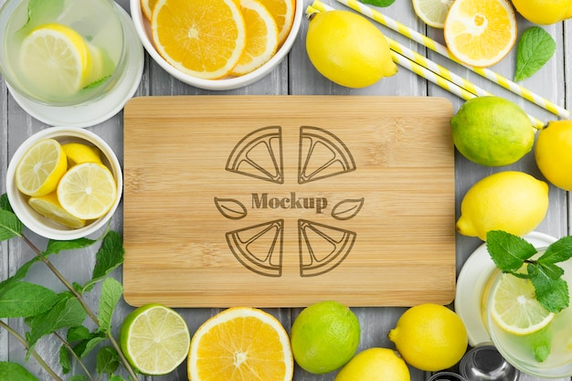 Top view lemons and mock-up cutting board