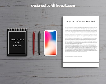Top view letterhead and smartphone mockup