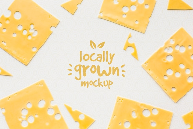 Top view of locally grown cheese mock-up